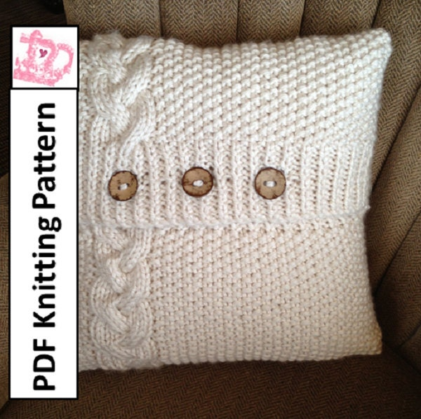 Knitting Pattern For Chunky Cushion Cover : Popular items for knitted pillow cover on Etsy