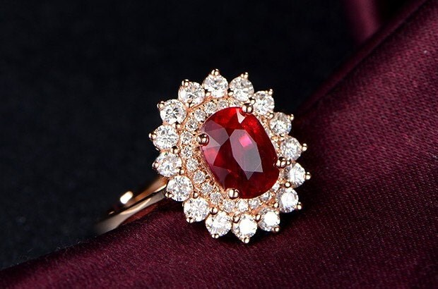 Engagement Ring 2 Carat Pigeon Blood Ruby By Stevejewelry
