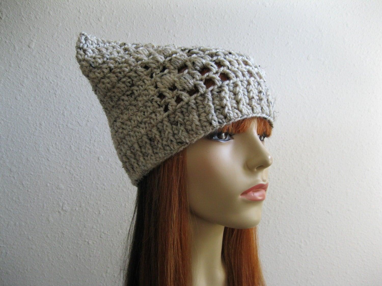 Crocheted Beanie Hat Cat Ear Hat Oatmeal Ready by ...