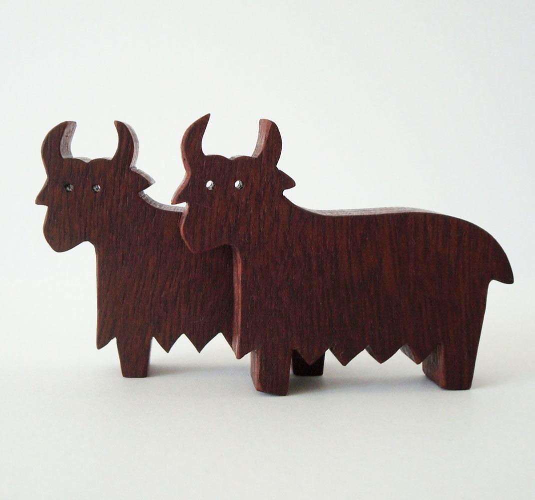 wooden yaks
