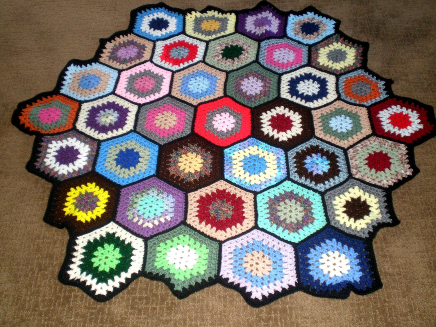 Vintage Crochet Afghan Octagon Granny Squares New by ...