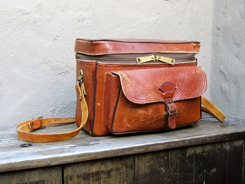 Vintage Distressed Cognac Leather Large Camera Bag by Perrin - Trustfund21