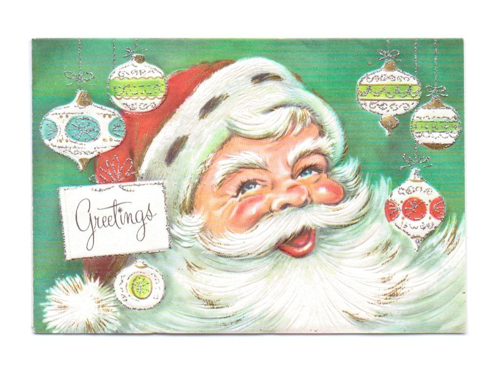 1950s Santa Claus Greeting Card