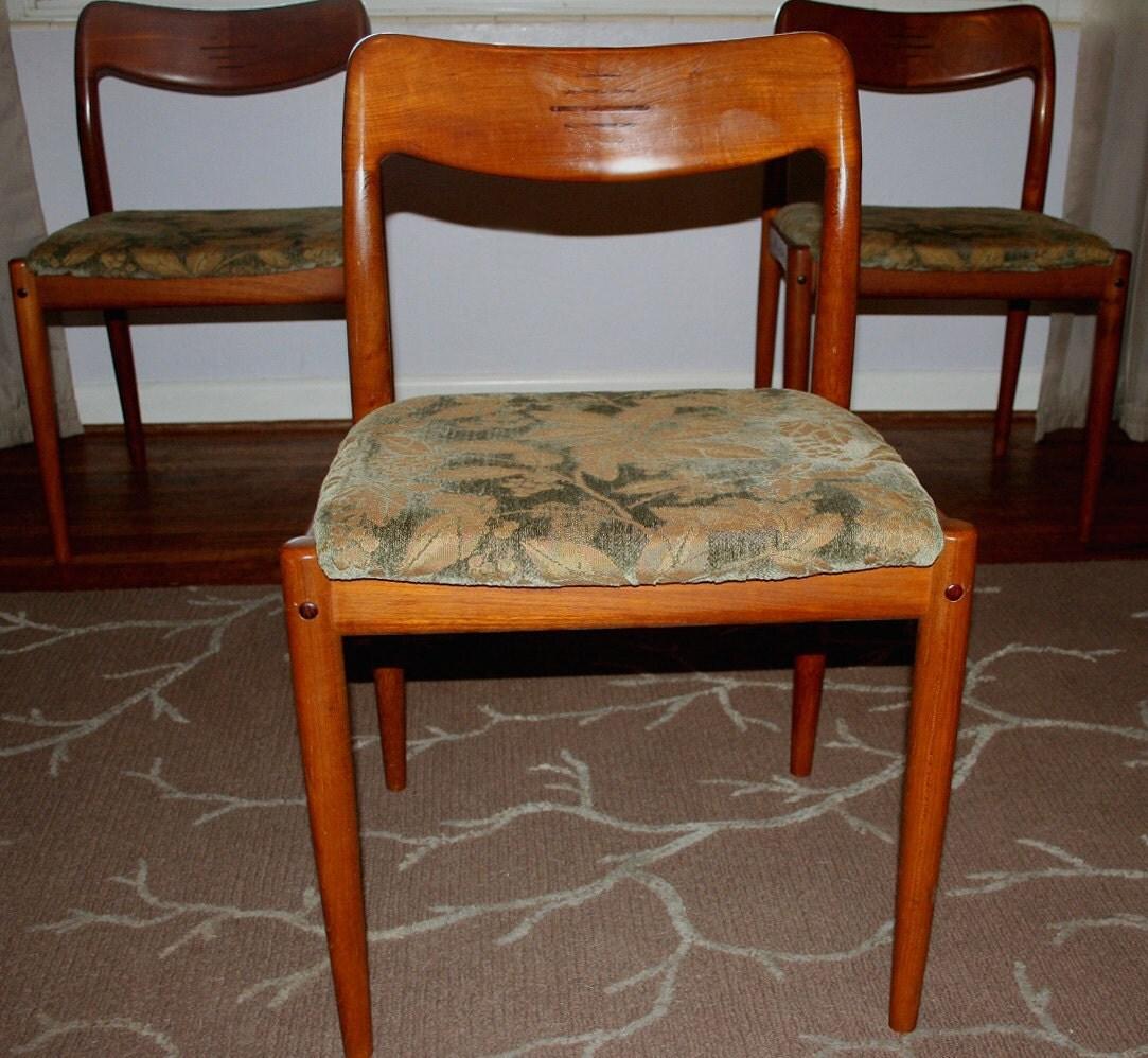 Vintage Moller Dining Chairs ~ Vintage mid century danish modern teak moller style by