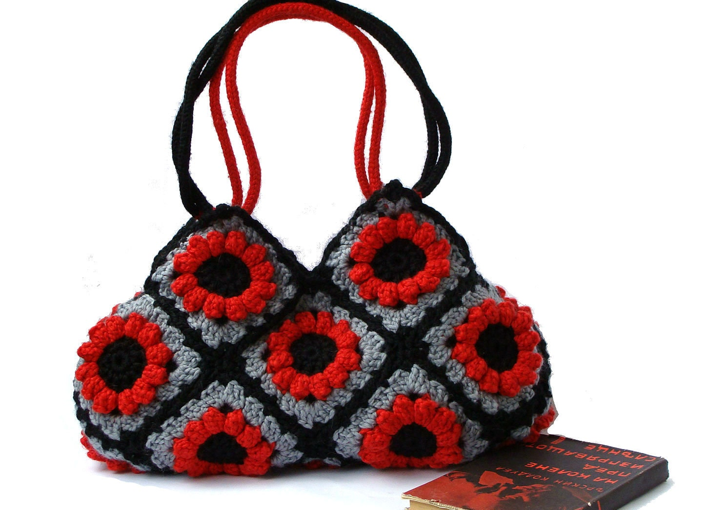 Flower Crochet Bag : Granny crochet red flower handbag crochet hand bag by zolayka