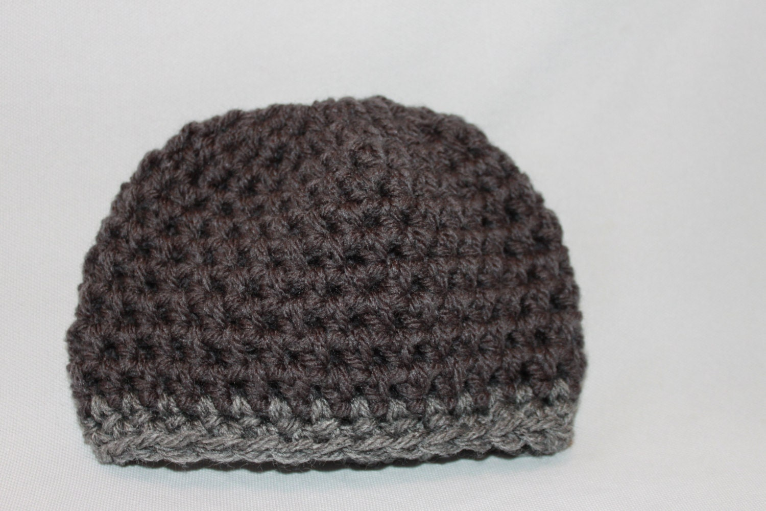 Newborn Hat - Baby Hat - Crochet Hat - Gray Baby Hat- Striped Gray Hat - Infant Hat - Crocheted Boys Hat - MyStitchInTime