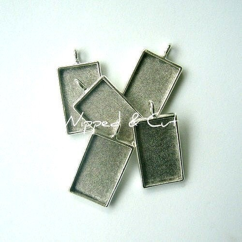 5 rectangle antique silver pendant blanks bezels by vlosupply