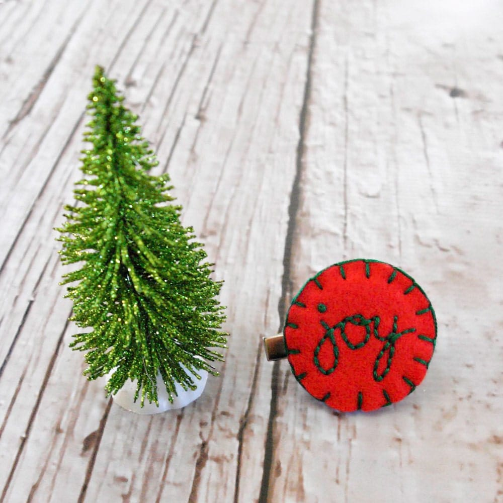 Girls Holiday Party Hair Clip, Red & Green Felt Hair Barrette, Girls Christmas Hair Bow, Hand Embroidered Winter Hair Bow,Rustic, White - SweetSapling