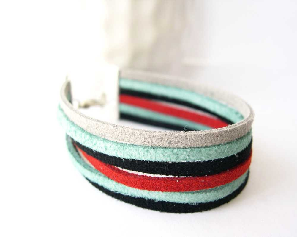 Cuff Bracelet - Black, Red, Turquoise, Aqua, Grey, Gray, Colorblock, Color Block, Faux Suede Jewelry, Microfiber Jewellery, Adjustable - SYMBOLICinteraction