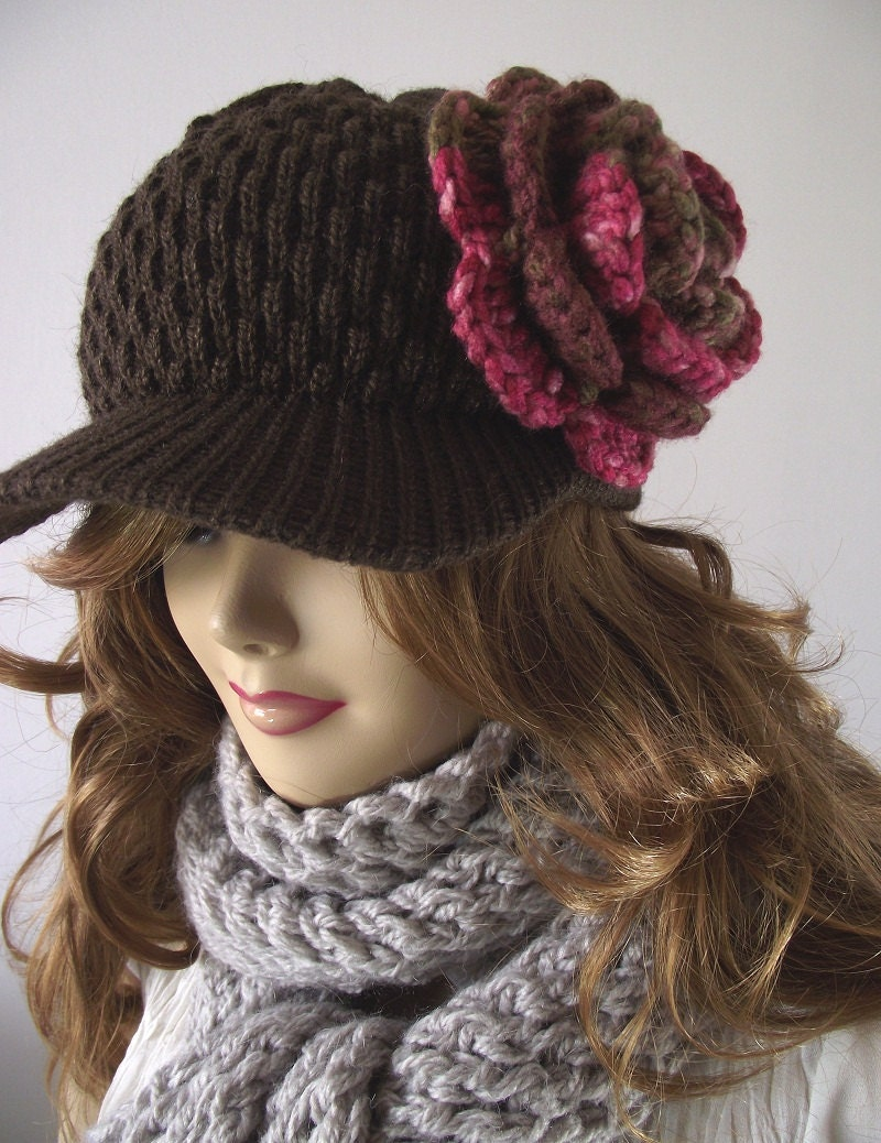 Brown Crochet Hat...detachable Flower...Newsboy beanie...Winter Woman Hat...Super Chic and Elegant