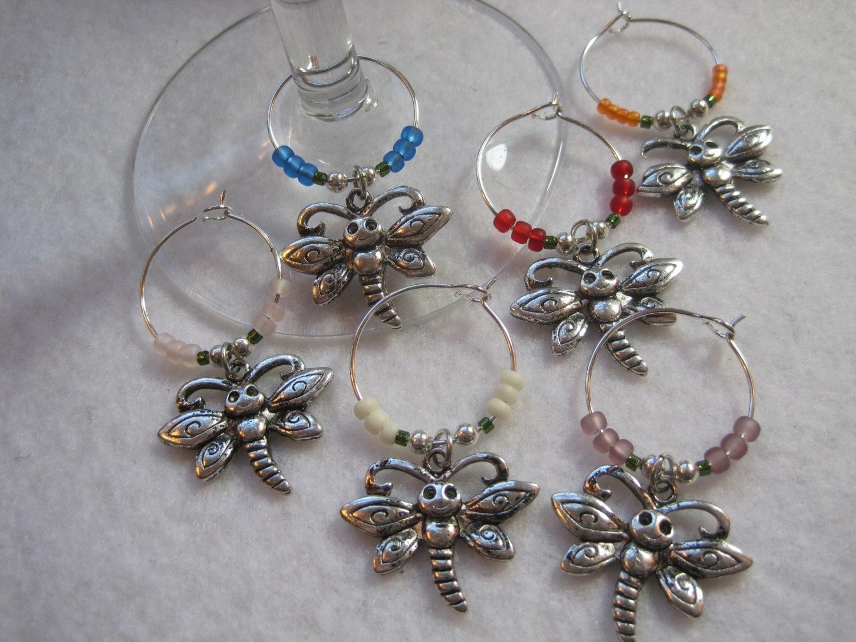 items similar to happy dragonfly wine glass charm set mug
