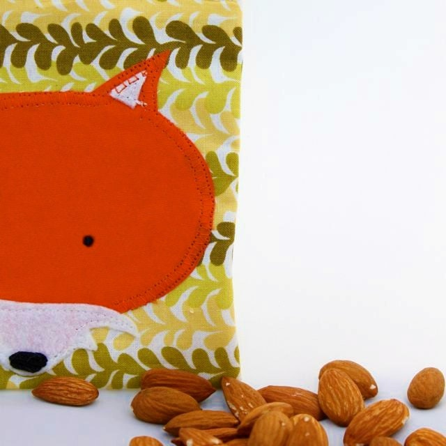 Reusable Snack Pouch: Woodland Red Fox on Green Bag