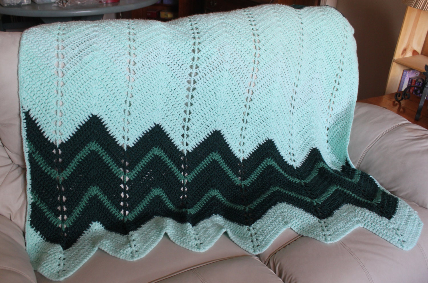 Green Crochet Afghan Pattern : Green / Turquoise Chevron Pattern Afghan Crochet by ...