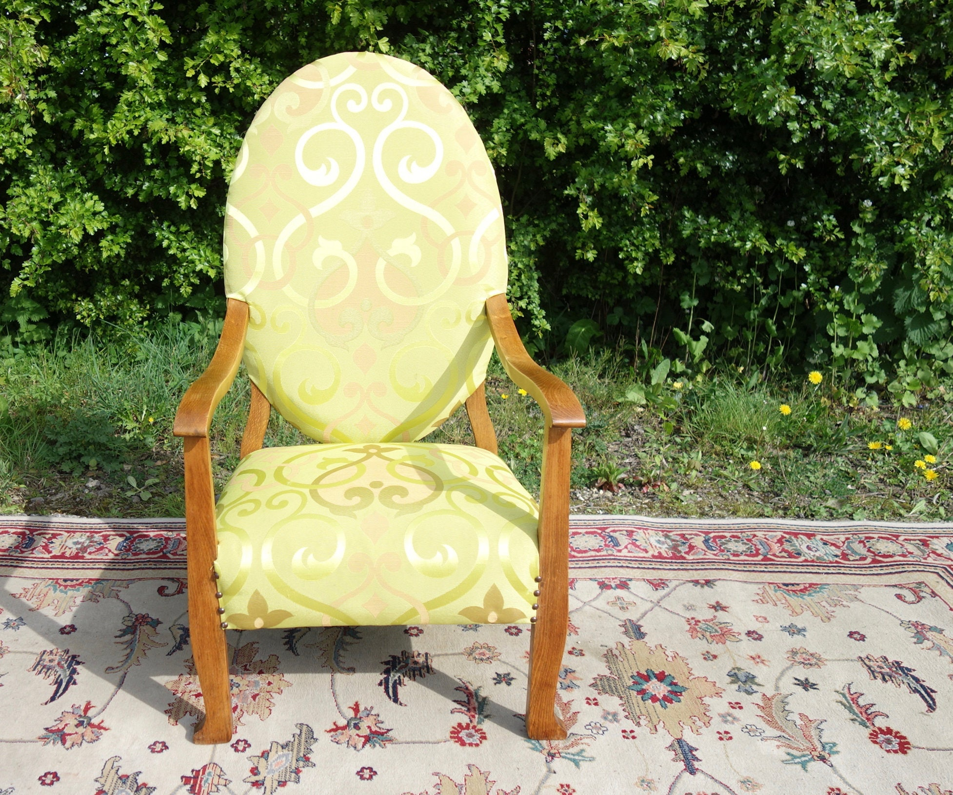 Antique Oval Armchair Old Lime Green Upholstered Chair Vintage Nursing Chair