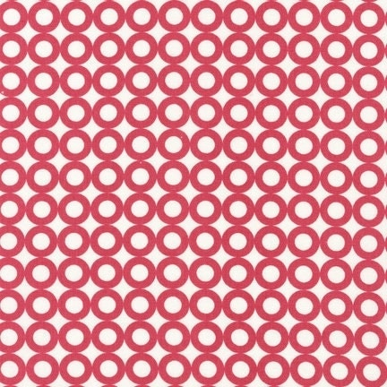 Organic Cotton Fabric Modern Whimsy Strawberry Circles by Laurie Wisbrun for Robert Kaufman - 1 YD - FabricFascination
