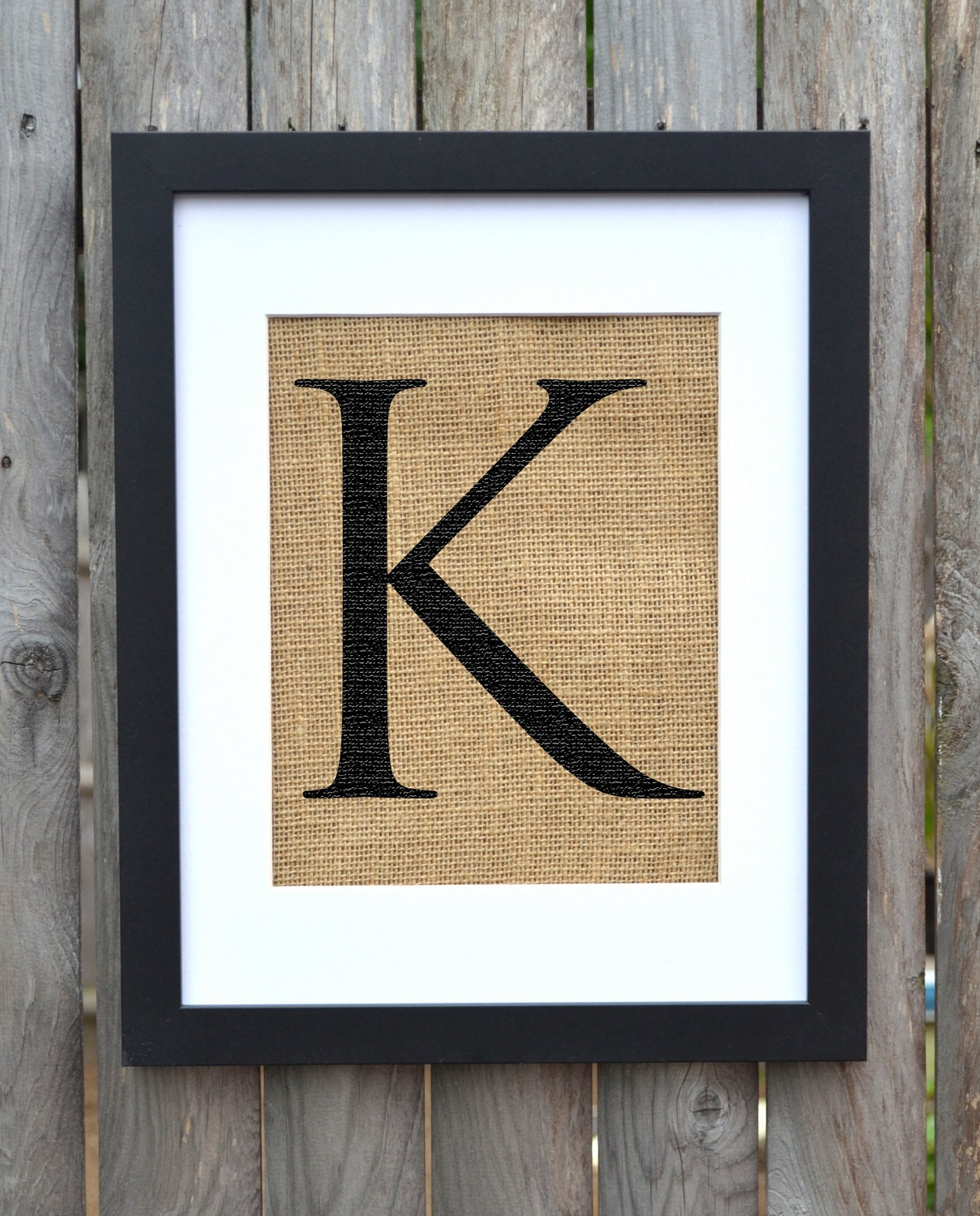 Wall Decor Letter K : Letter k burlap framed print monogram alphabet by