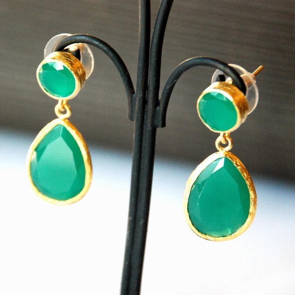 style green jade drop earrings by toosis on