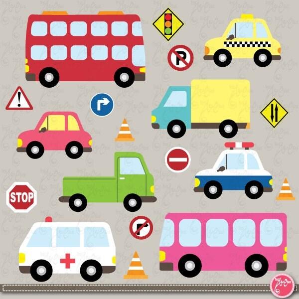Transportation clip art ,Cute Vehicles, transport set ...