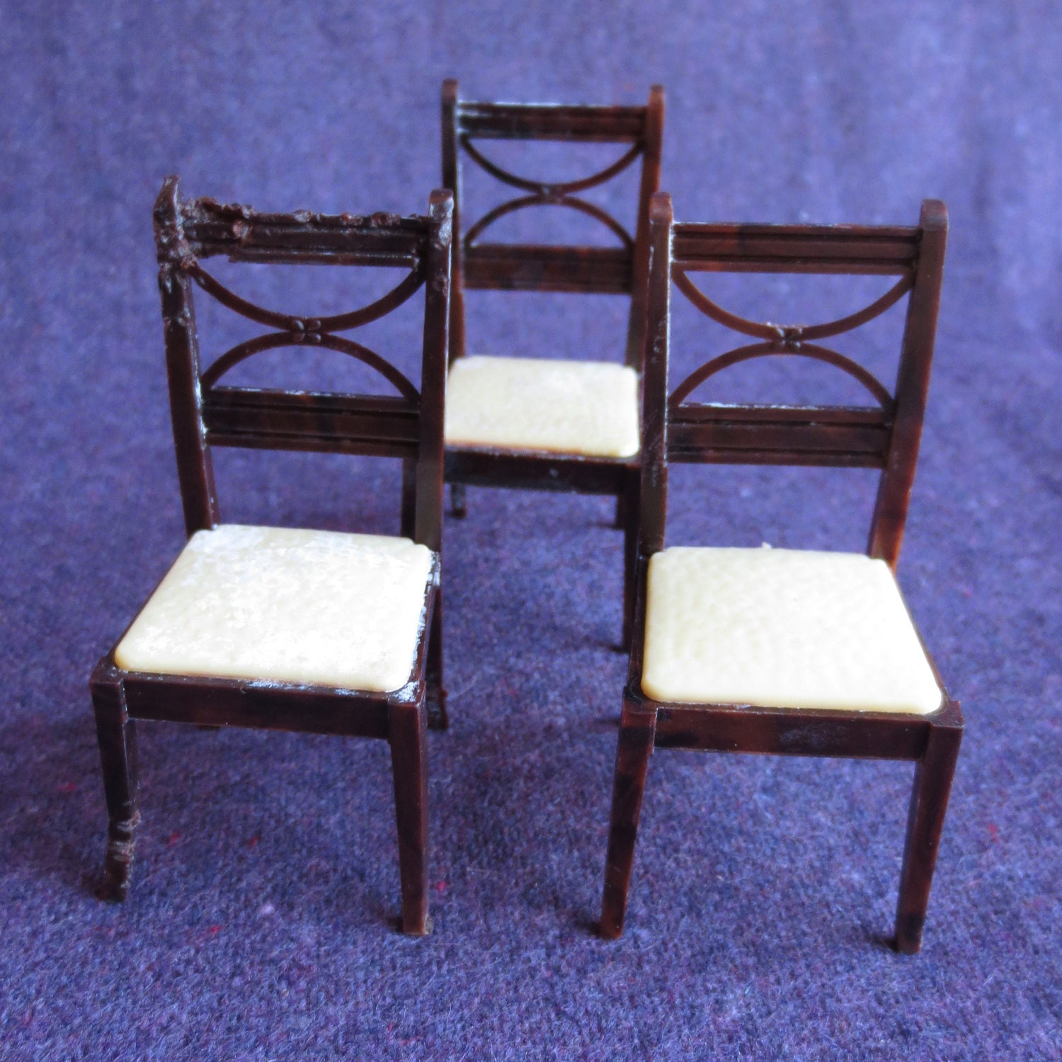 Dining room chairs dollhouse furniture by jeniyesterday on etsy - Dollhouse dining room furniture ...