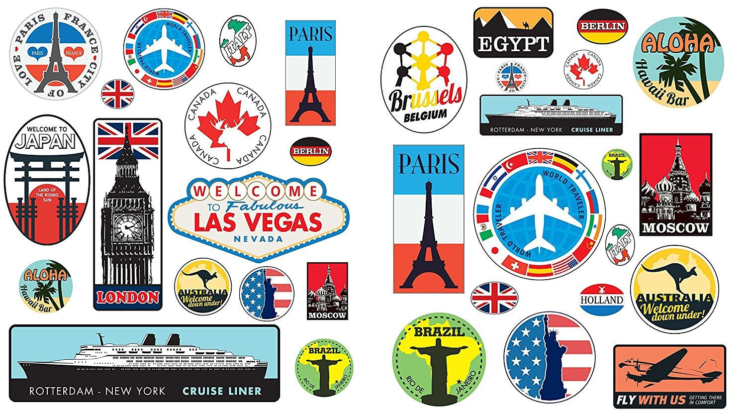 Peel and stick 36 Retro Vintage old fashioned style luggage suitcase travel stickers stick on