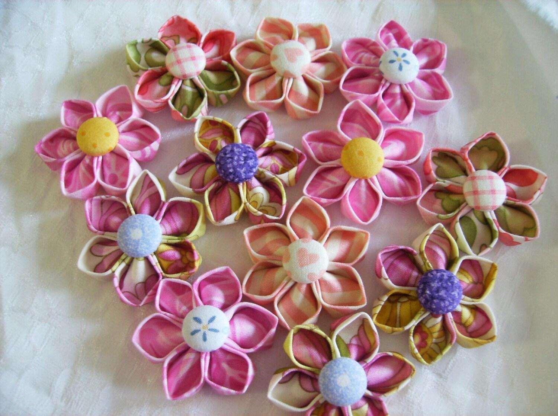 Folded Fabric Flower 2 PDF Tutorial Make by SundayGirlDesigns