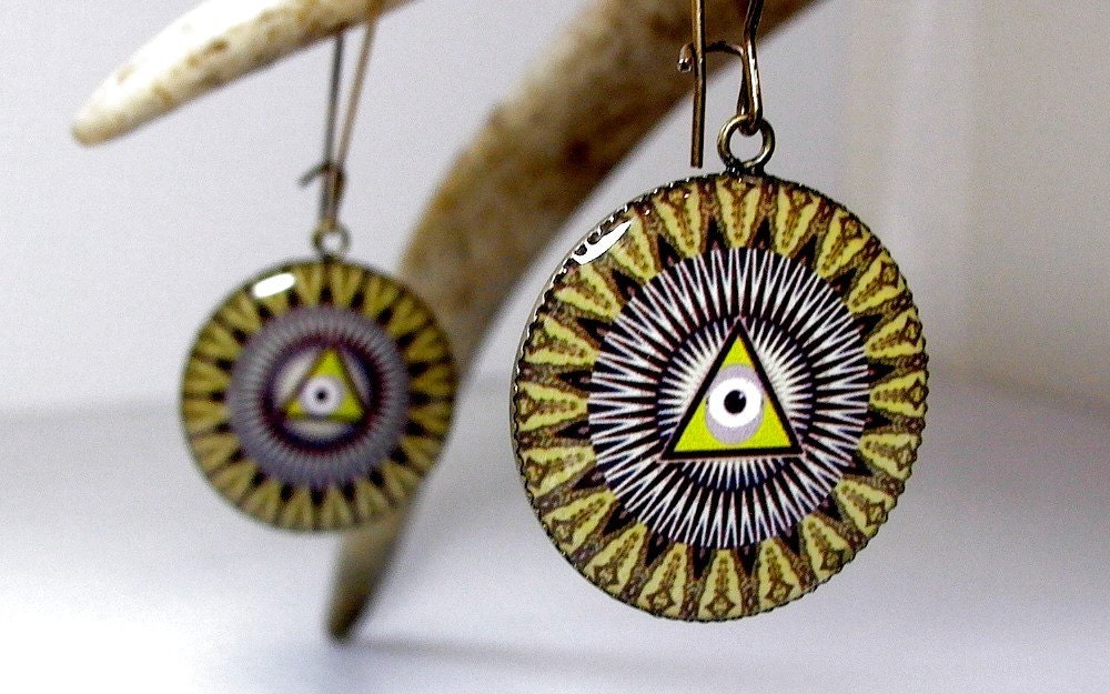 masonic earrings tribal ethnic illuminati jewelry by