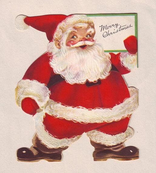 1940s-50s Die Cut Santa Claus Christmas Card