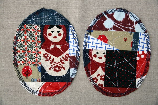 Patchwork Knee Patches - set of 2 Red & Blue