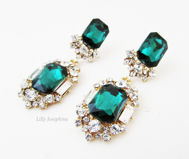 Emerald Green Rhinestone and Crystal Earrings Emerald Earrings Emerald Green Vintage Style Earrings Green Bridesmaids Earrings