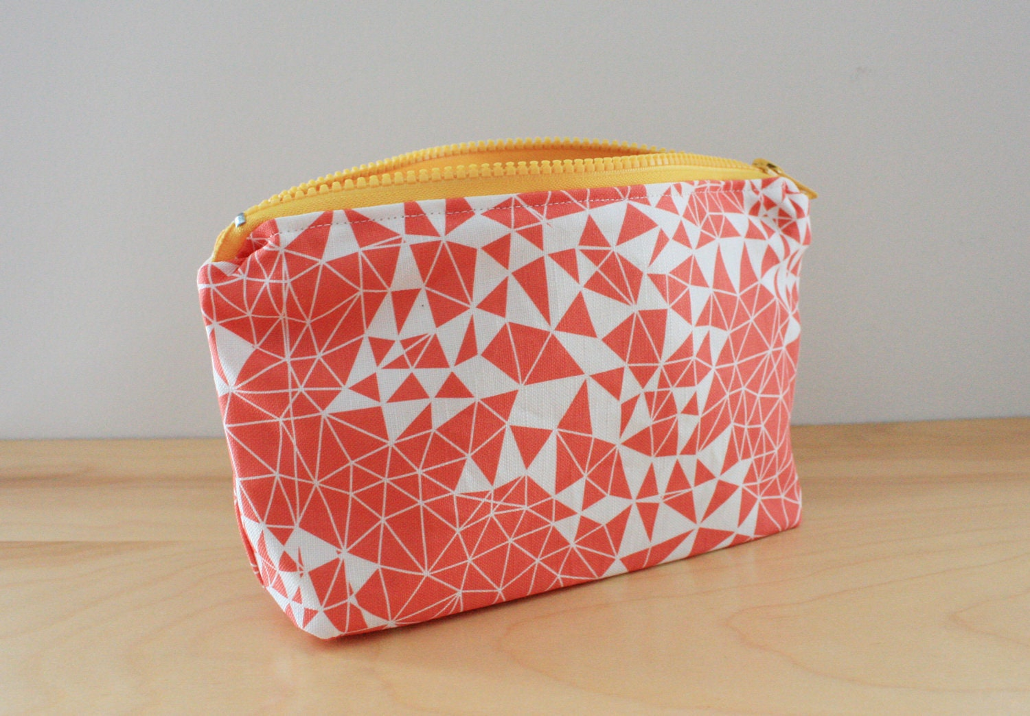 Coral Geometric fabric with Buttercup Yellow accents Cosmetic Bag - 9 in x 6 in Zip Pouch - wickedmint