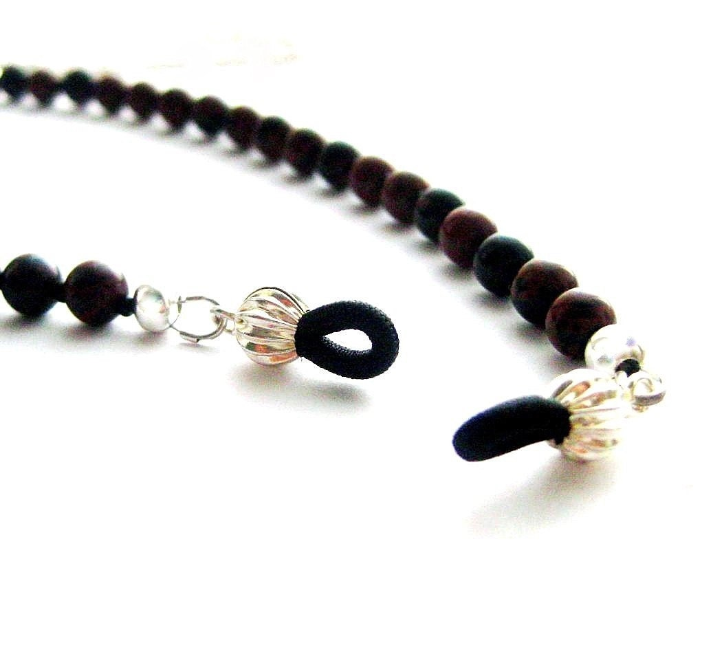 beaded eyeglass chain brown black gemstone by handmadebyamor