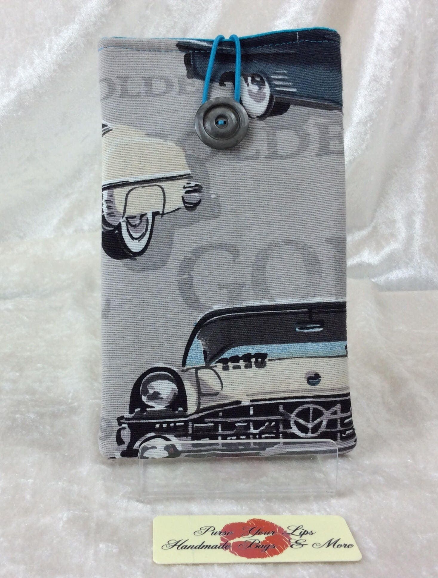 50s American Cars Large Phone Glasses Case fabric elastic button Handmade in England