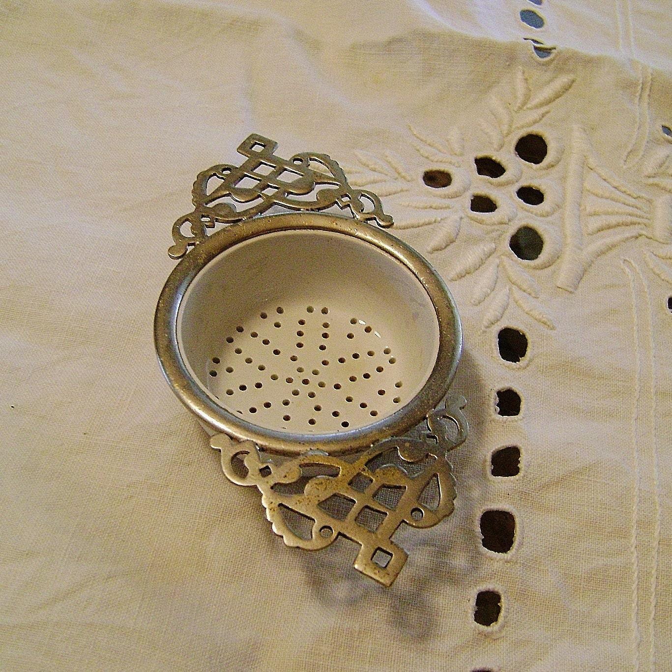 Antique Scroll Work: Antique Enamel Porcelain Scroll Work Tea By SilverFoxAntiques