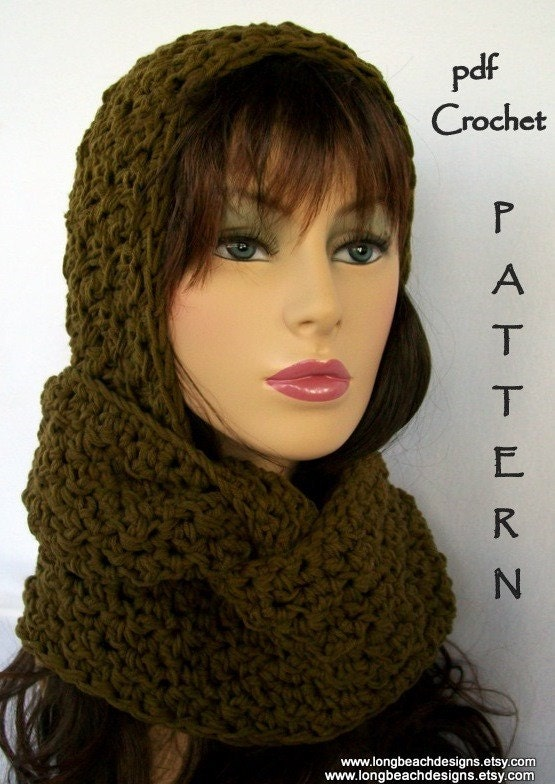 Instant Download crochet hat and cowl scarf by ...