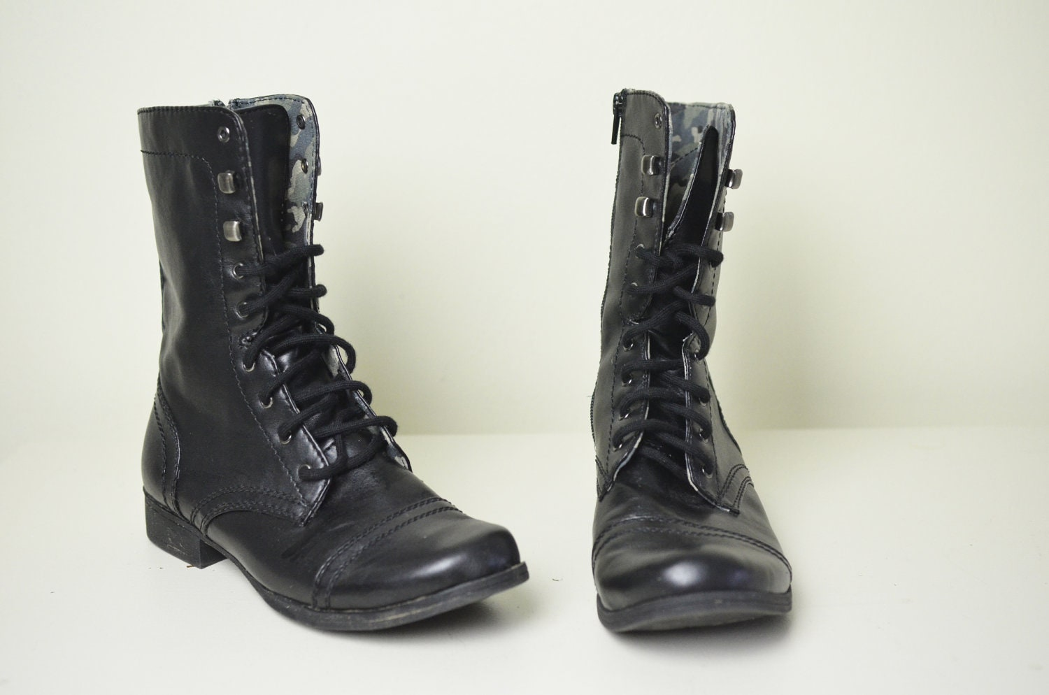 Simple  Camouflage Insert Combat Womens Military Boots Black  Styleupup