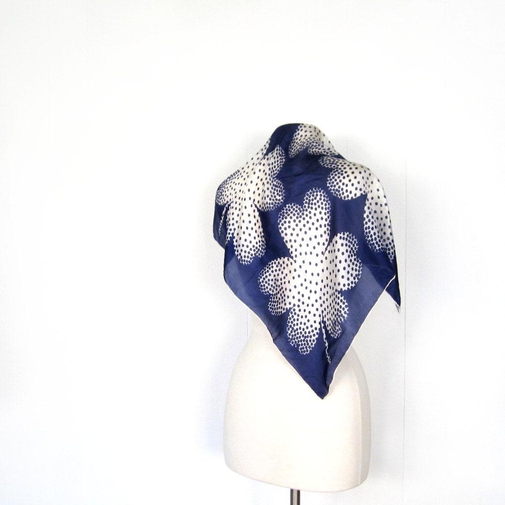 Vintage 1950s Scarf  Clover Print  Silk Scarf Vintage Silk Scarves