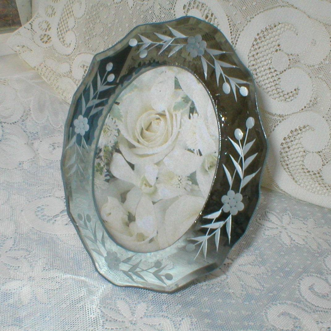 venetian glass picture frame mirrored frame etched by