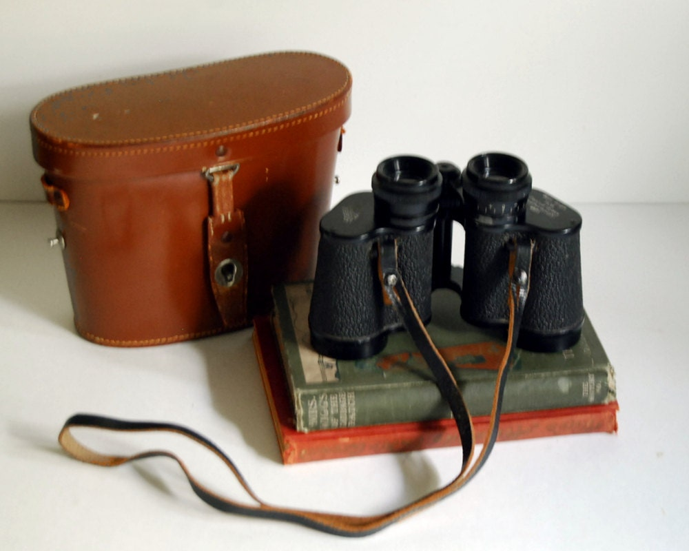 Vintage German Binoculars Hertel & Reuss, Kassel, Field Glasses 7x35 Featherweight with Case - CalloohCallay