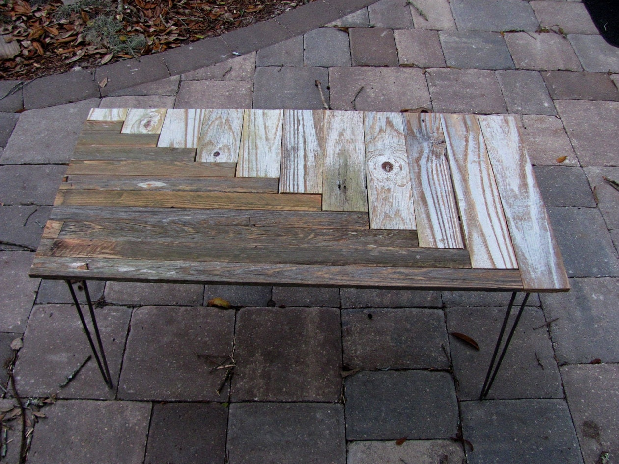 Upcycled Coffee Table, mid century style hairpin legs, made of recycled wood
