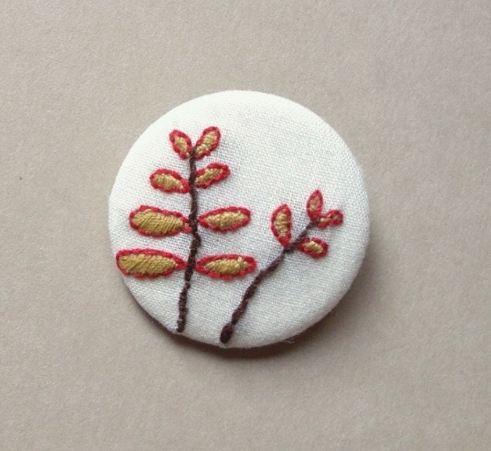 Red and Golden Fern Spring Autumn Leaves Embroidered Pin Brooch - leeandlatimer