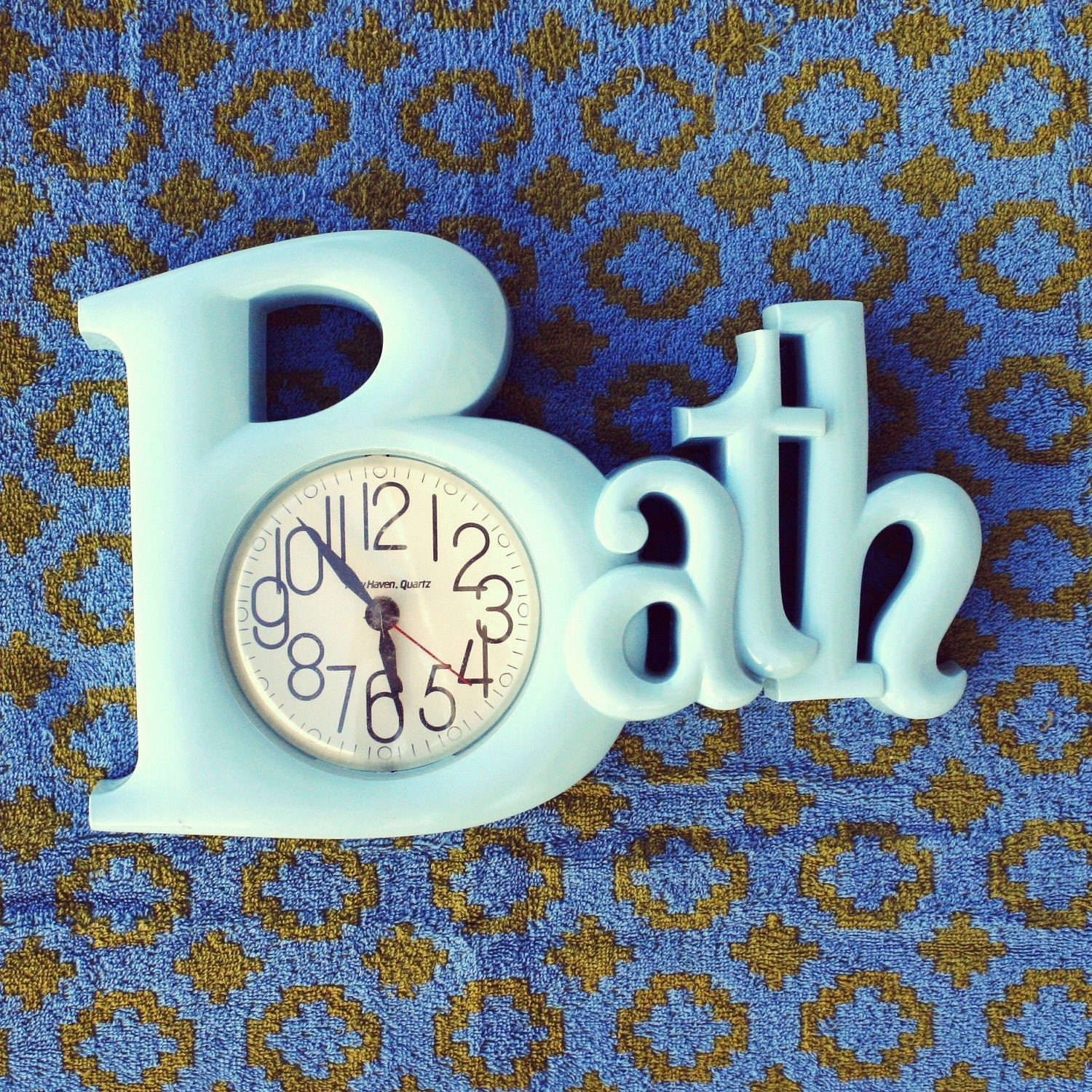 Vintage wall clock in light blue 1980s bathroom by for 1980s bathroom decor