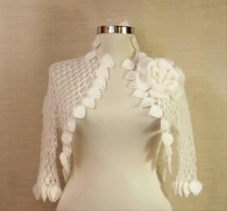 Ночь в White Satin / Свадебные Shrug Болеро (SML) Вязание крючком кружева невесты Невеста куртка - Цветы Листья-Кружева моды весна-лето-
