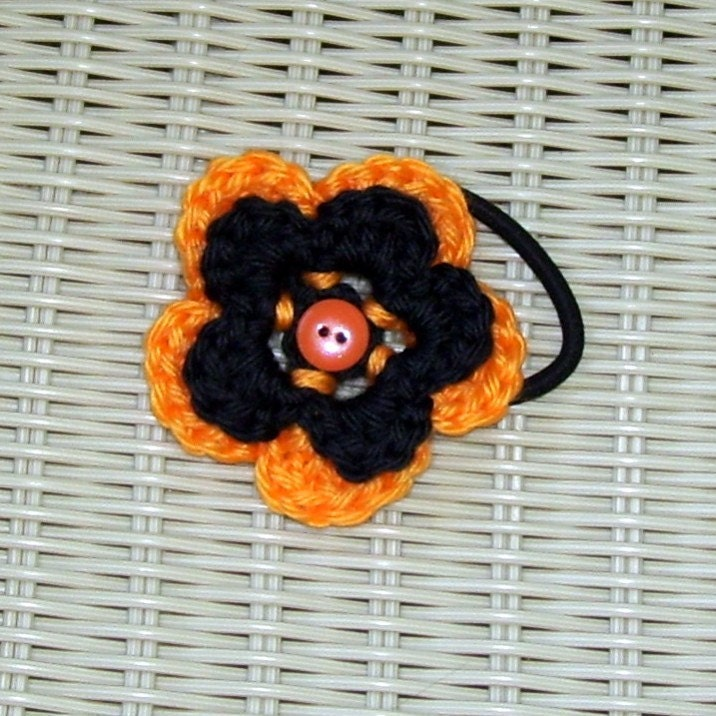 Pontytail Holder Crocheted Flower Pumpkin & Licorice