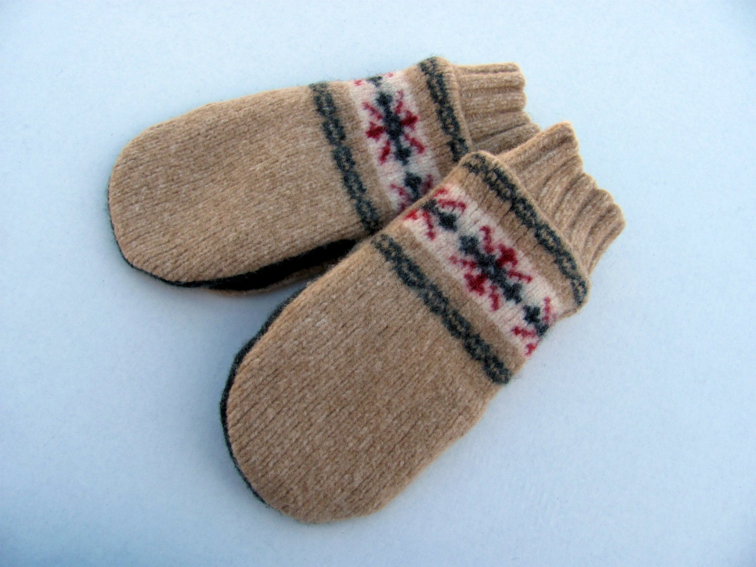 Mittens fleece lined camel tan with red and charcoal gray snowflake