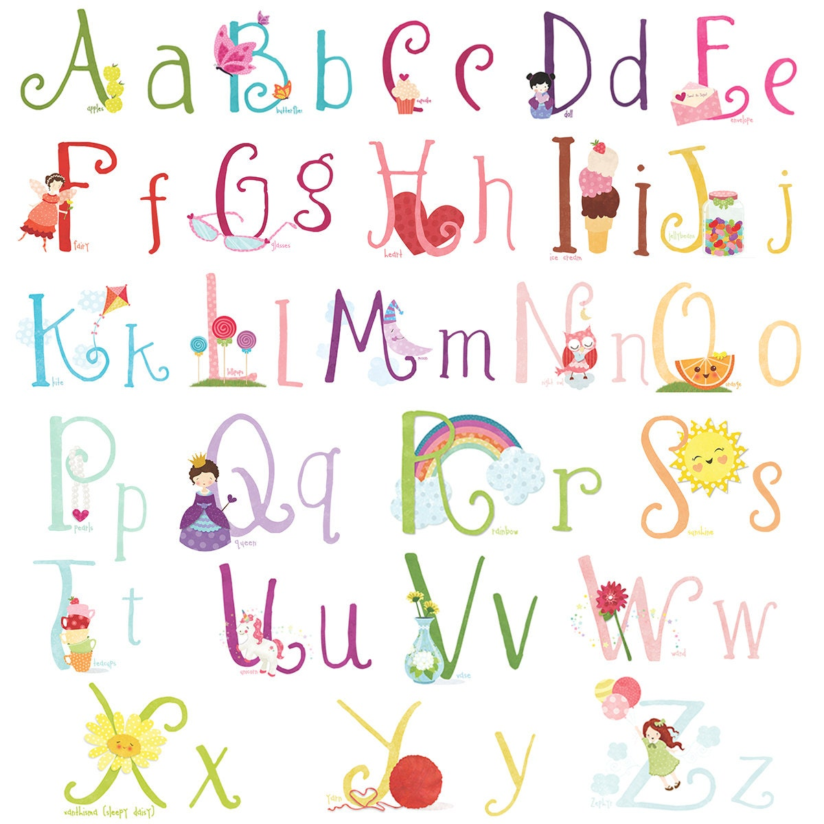 Cute GIRLY Wall Decal Stickers Alphabet for Children by
