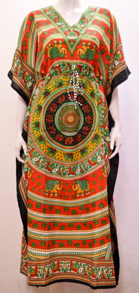 Plus Size Ethnic Elephant Butterfly Wheel Floral Abstract Kaftan Dress Red 30