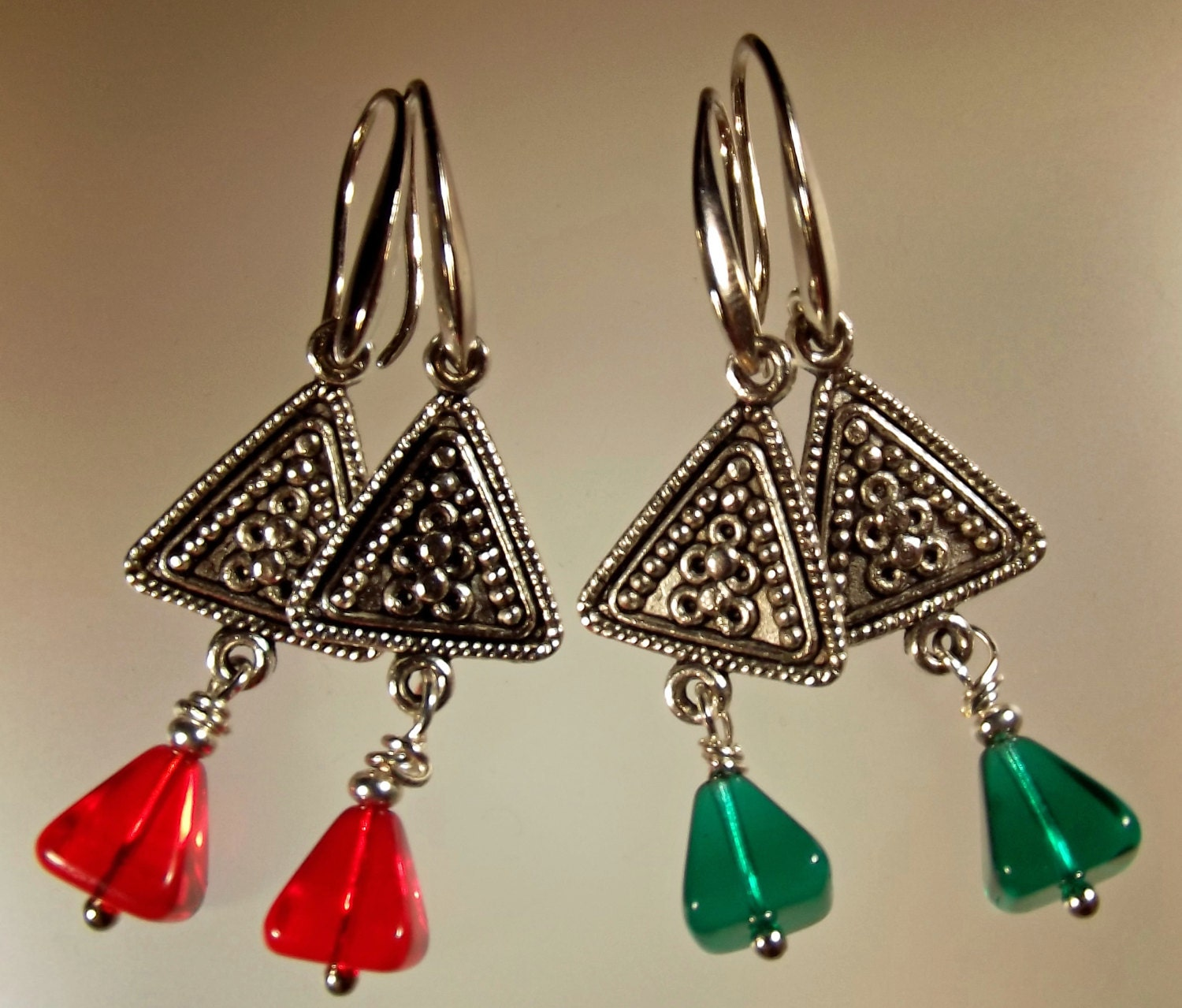 Items similar to earrings handmade choice of green or red