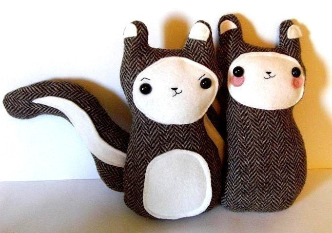 Lovers - Bon Bon and Belchick - tweed woodland squirrels in love - Made to order - Back by Popular Demand