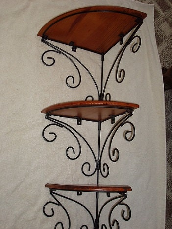 wrought iron and wood corner shelving unit by yankytreasure. Black Bedroom Furniture Sets. Home Design Ideas