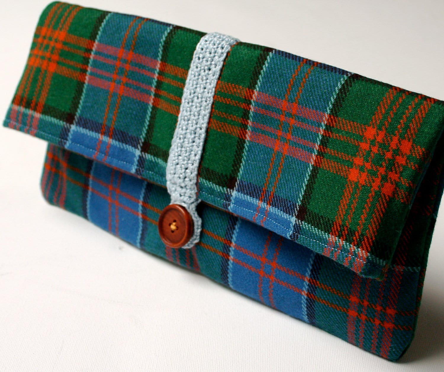 Tartan Blue Clutch Bag